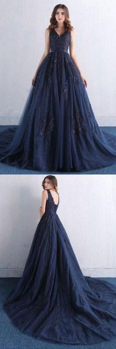 Dark Blue V Neck A Line Appliques Tulle Long Prom Dress OK820 #darkblue #aline #vneck #tulle #appliques #prom #okdresses