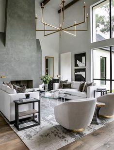 Elegant Living Room, Living Room Grey, Living Room Modern, Home Living Room, Luxury Living Rooms, Small Living, Monochromatic Living Room, Living Room Decor Styles, Modern Contemporary Living Room