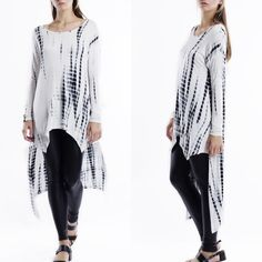 """""""I've Been Known"""" Bamboo Tie Dye Tunic Long sleeve black and white bamboo tie dye tunic. Brand new. True to size. Model is wearing a size small. This is an actual pic of the item all photography done personally by me. Each piece is dyed separately so allow for some variation. Bare Anthology Tops Tunics"""