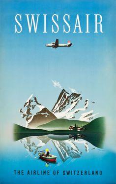 Switzerland Travel Poster (Swissair, 1949)Artist Herbert Leupin (1916-1999)