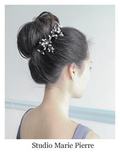 """Classic bridal hairstyle high ballerina bun with hair vine by Studio Marie Pierre - A Hair Comes the Bride affiliate stylist. ~ """"Twyla"""" hair vine by Hair Comes the Bride"""