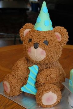 teddy bear cake | Cuddly Teddy {First Birthday Teddy Bear Cake} | A Little Something ...