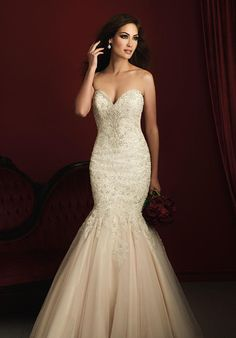 Strapless lace mermaid wedding dress with sweetheart neckline and beading I Allure Couture I https://www.theknot.com/fashion/c363-allure-couture-wedding-dress