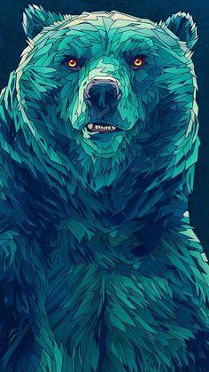 Illustration for the german twin music fests Hurricane & Southside Animal Paintings, Animal Drawings, Art Drawings, Bear Tattoos, Polygon Art, Arte Obscura, Bear Art, Tier Fotos, Animal Wallpaper