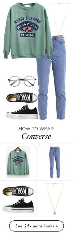 """Untitled #798"" by rainbowheadass on Polyvore featuring Converse, Lost Ink and Vanessa Mooney"