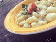 Gnocchi in Gorgonzola Sauce Gnocchi, Pasta Recipes, Risotto, Homemade, Food, Noodles, Food Food, Meal, Home Made