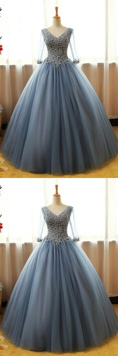 Princess V neck long gray tulle formal prom gown, long lace applique evening dress with sleevess