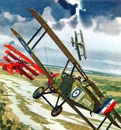 Sopwith Camel vs the Red Baron it was curtains for him Ww2 Aircraft, Fighter Aircraft, Military Aircraft, Fighter Jets, Fokker Dr1, Sainte Therese, Airplane Art, Aircraft Pictures, Aviation Art