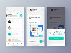 Chat-App attachment designed by Alexandr Kotelevets for Brandux. Ui Design Mobile, Design Ios, Make Design, Mobile Ui, App Ui, Ui Ux, Me App, Flat Ui, Screen Design
