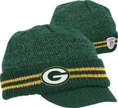 Green Bay Packers Visor Knit Hat for all of us KC Packers Gear f44f9497c26b