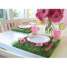 Grass Mats with Pink Flowers for Girls Party Center Piece Party, Woodland Party, Wedding Decor and Children's Room Decor ...  too cute