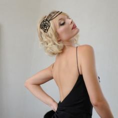 Dark Rose Headdress. Art Deco black couture headpiece with 1920's flower detail.  Hermione Harbutt.