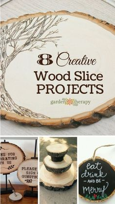 Creative Wood Slice Projects – Tips for creating creative wood slab projects for your home or as a gift (plus some tips on finding and refining the wood). Wood Slice Crafts, Wood Burning Crafts, Wood Burning Patterns, Wood Burning Art, Wooden Crafts, Cork Crafts, Dremel, Wood Logs, Wood Slab