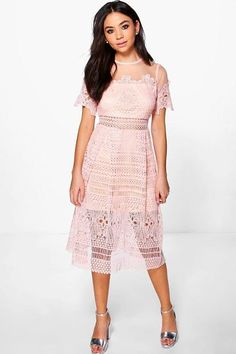 f36bc7d874 Boohoo Boutique Cary Lace Mesh Midi Skater Dress