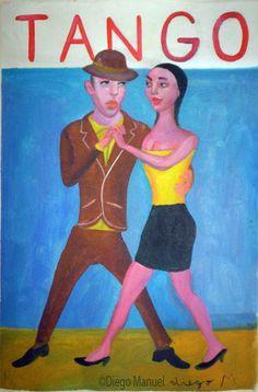 tango milonguero 2, pinturas de Diego Manuel. Sale of a painting of the Argentine Tango. Venta de una pintura sobre el tango Argentino