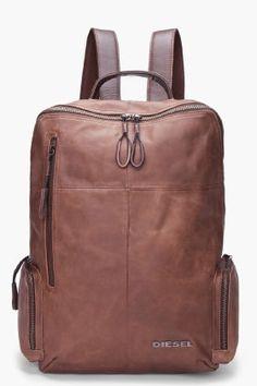 Diesel men's brown leather forward backpack.