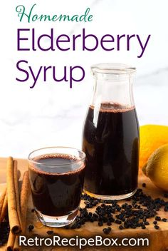 Homemade Elderberry Syrup is made from dried elderberries. Elderberry syrup is thought to be an immune boosting syrup that may help ease the symptoms of colds. This Elderberry syrup recipe is delicious and easy to make. retrorecipebox.com #elderberrysyrup #elderberries #immunity