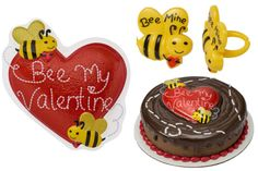 Bee Mine Valentine's Day Cake Topper and Cupcake Toppers.