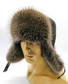 Men's winter russian hat from a raccoon fur and leather - Ushanka, tinted Russian Hat, Sheepskin Coat, French Beret Hat, Flapper Hat, Cashmere Hat, Mens Fur, Cloche Hat, Winter Accessories, Hats For Men