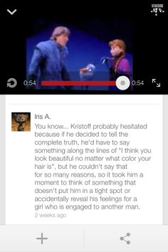 "Anna and Kristoff | I think they were still in the whole ""falling in love"" process, so he quite didn't love her yet, but I love this comment!!!"