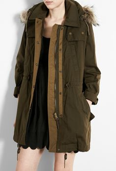 Burberry olive green parka coat
