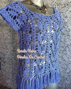 * Pérolas do Crochet: Blusinha Clea 5 Serenity com gráfico