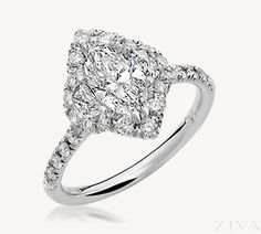 Marquise with Moon Cut Diamonds Halo Engagement Ring