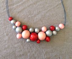 Pretty in pink wooden bead bib necklace