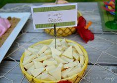 Aloha To Summer Party kids table cheese shark teeth