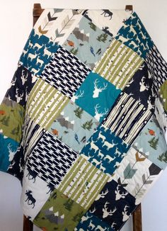 Baby Quilt, Rustic Baby Quilt, Woodland Baby Quilt, Moose Baby Bedding, Camping Crib Bedding, Buck Baby Bedding, Crib Bedding, Baby Bedding by CoolSpool on Etsy https://www.etsy.com/listing/277937546/baby-quilt-rustic-baby-quilt-woodland