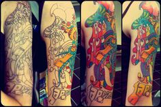 This is the progress of my Beatles themed half sleeve so far! Ryan Green of All about Art tattoos in Lumberton,Texas helped me design it !