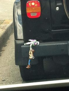 Toy Story Buzz Lightyear and Woody Bumper Ornament. whats funny is that ive actually seen this! I Love To Laugh, Make You Smile, Just Keep Walking, Toy Story Buzz Lightyear, To Infinity And Beyond, Grumpy Cat, Funny Cute, That's Hilarious, Hilarious Photos