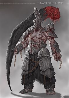 Grimdark Souls - Havel the Rock by SaneKyle on DeviantArt Dark Souls 3, Arte Dark Souls, Dark Souls Armor, Fantasy Character Design, Character Design Inspiration, Character Art, Monster Concept Art, Fantasy Monster, Havel The Rock
