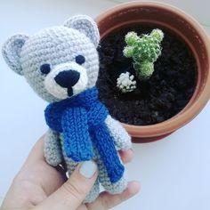 3 отметок «Нравится», 1 комментариев — crochet toys (@grafika_knit) в Instagram: «Сурьезный мишка присмотрит за твоими  кактусами😉🌵 В еде не прихотлив😂 Может прямо сегодня…»