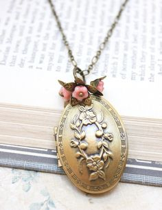 Flower Locket Necklace Pink Flower Charms Brass by apocketofposies