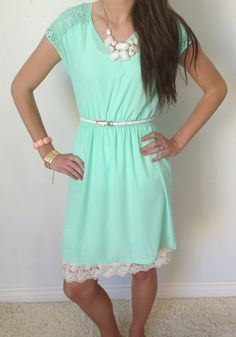 Laced With Mint Dress.  This site has cute modest dresses!