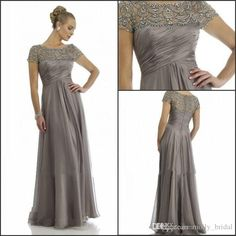 2015 Long Grey Mother Of The Bride Dresses Plus Size With Short Sleeve Beaded Top A Line Chiffon Formal Wedding Party Dress Mum Evening Gown Online with $86.5/Piece on Molly_bridal's Store | DHgate.com
