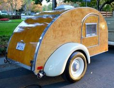 I wanted to show you this all wood hand built teardrop camper for sale finished in It was a six year project even the trailer frame was custom built. Built with one inch birch wood that& Teardrop Trailer For Sale, Teardrop Trailer Plans, Building A Teardrop Trailer, Teardrop Camping, Teardrop Caravan, Small Campers, Cool Campers, Campers For Sale, Micro Campers