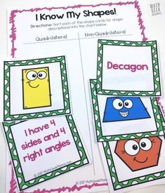 This post provides several shape games for kids ideas, plus a FREE printable set of shape cards that can be used for many games to help kids learn shapes. Toddler Learning Activities, Preschool Activities, Kids Learning, Shape Activities, Shape Games For Kids, Games For Toddlers, Free Shapes, Basic Shapes, Shape Chart