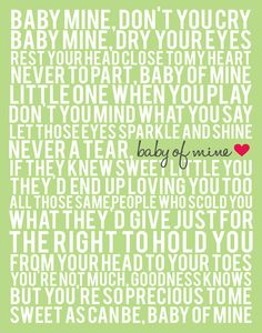 Song Lyric Poster Baby Mine Lavender Gray by ADoseOfDani Disney Song Lyrics, Disney Songs, Music Lyrics, Disney Art, Baby Mine, Sing To Me, Everything Baby, Funny Stories, Found Out