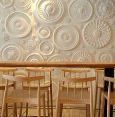 Ceiling plaster rosettes clustered together for a stunning effect