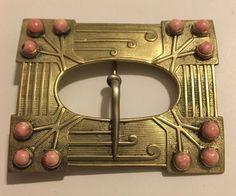Antique Victorian Art Nouveau Faux Salmon Pink Coral Belt Buckle Brooch Sash Pin
