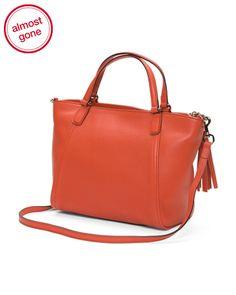 Made In Italy Leather Soho Top Handle Bag - Handbags - T.J.Maxx