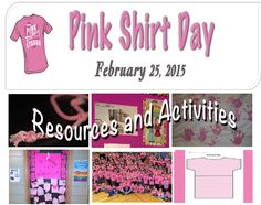 Find Pink Shirt Day activities, lessons, books and information… Bullying Activities, Bullying Lessons, School Tool, School Notes, Too Cool For School, Middle School, Pink Day, School Health, Anti Bullying