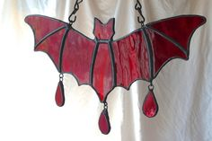 Stained Glass Bat Blood Red Handmade by RivenBarrowGlass on Etsy