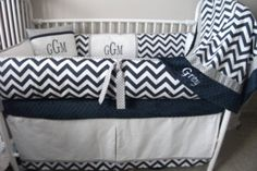 Navy Blue, Gray And White Chevron Baby Bedding Crib Set Deposit