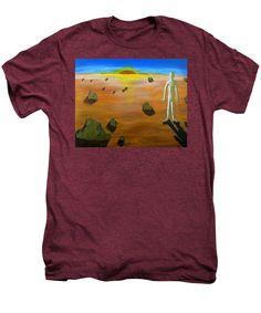 Surealism Men's Premium T-Shirt featuring the painting Walking On Mars #3 by Mario Perron #Artist @ 1-mario-perron.pixels.com  #clothing #art #style