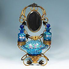 33cmH Antique French Palais Royal dressing table perfume bottles jewellery Stand
