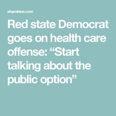 "Red state Democrat goes on health care offense: ""Start talking about the public option"""