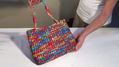 DIY - Bolsa de corda com tecido - Fabric covered coiled rope handbag - B...